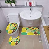 Bath mat Set Round-Shaped Toilet Mat Area Rug Toilet Lid Covers 3PCS,Polka Dots,Various Sized Vivid Polka Dots in Hippie Style Groovy Pattern Past Times Theme,Multicolor,Customized Rug Set