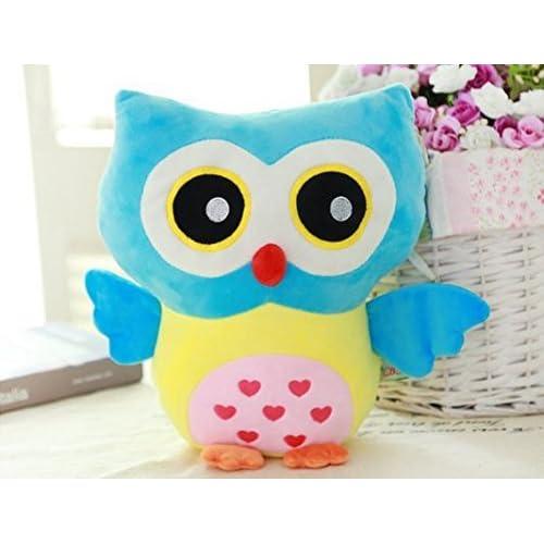 KiKi Monkey 12 inch Cute Owl Plush Pillow Toys Kids Stuffed Animal Puppets Toys Children Birthday Gift Toys (Blue Yellow) for sale