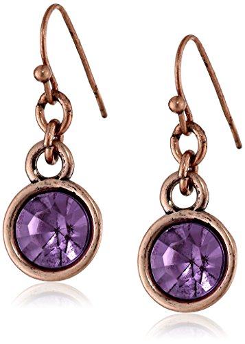 1928 Jewelry Copper-Tone Purple Stone Drop Earrings