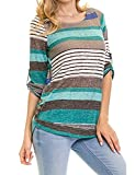Apparel : DEARCASE Women's Casual Color Block Striped 3/4 Sleeve T Shirts Tunic Tops