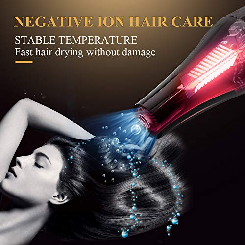 1875W Hair Dryer, Professional Salon Hair Dryer Negative Ionic Blow Dryer for Fast Drying, AC Motor Powerful Hair Blow Dryer with Diffuser & Concentrator & Comb for Men and Women