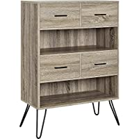 Ameriwood Home Landon Bookcase with Bins, Weathered Oak