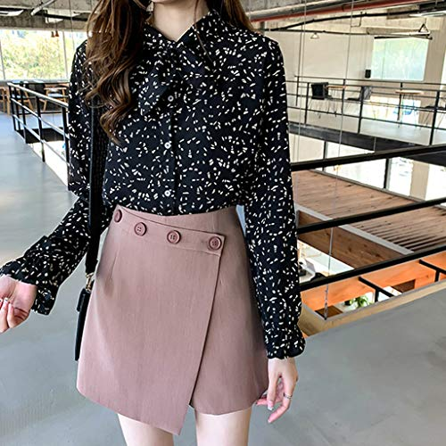Apt 9 Womens Shirts, Causual Summer Tops for Women,Fashion Women Chiffon Flare Sleeve Bow Bandage Print Loose Casual Top Blouse Black by Makeupstory (Image #3)