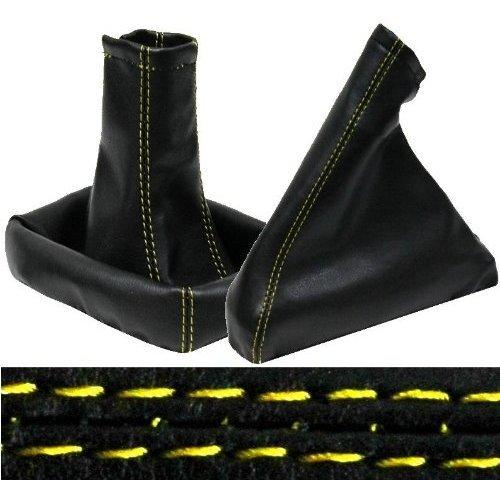 Aerzetix - Cuffia leva cambio e freno a mano di pelle sintetica nero con cuciture giallo 3800946531883
