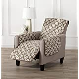 Printed Deluxe Reversible Stain Resistant Furniture Protector with Printed Pattern. Includes Adjustable Elastic Straps. Liliana Collection by Great Bay Home Brand. (Recliner, Fossil Brown)
