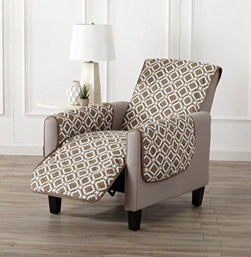 """Great Bay Home Reversible Recliner Cover. Printed Recliner Chair Covers for Living Room with Secure Straps. Protect from Kids, Dogs and Pets. (26"""" Recliner, Fossil Brown)"""