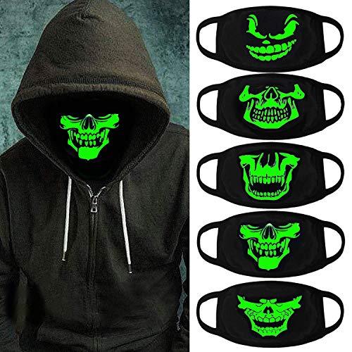Aniwon 5Pcs Luminous Masks Unisex Anti Dust Mouth Masks Glow in The Dark Cotton Face Masks for Halloween Party (C)