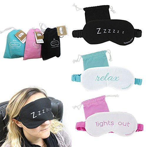 3 Sleeping Eye Mask Blindfold Sleep Soft Padded Shades Pouch Cover Relax Travel