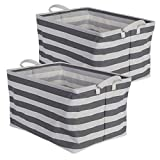 """DII Cotton/Polyester Cube Laundry Basket, Perfect In Your Bedroom, Nursey, Dorm, Closet, 10.5 x 17.5 x 10"""", Large Set of 2 - Gray Rugby Stripe"""