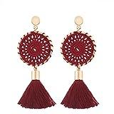 Alimao 1 pair Fashion Bohemian Vintage Long Tassel Fringe Boho Dangle Earrings Women Jewelry (Red)
