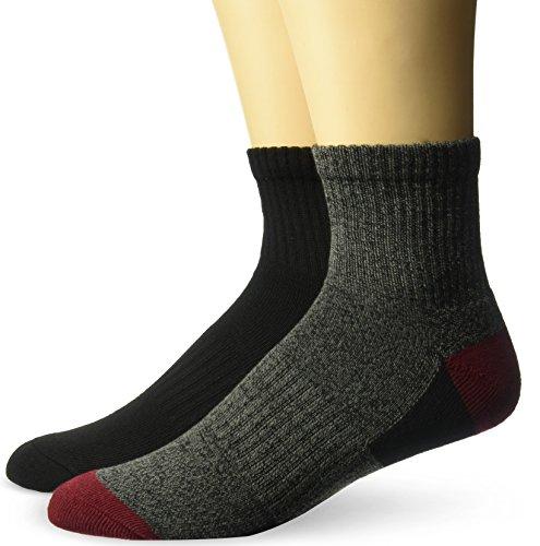 Mens Full Cushion Tab Socks (Fruit of the Loom Men's 2 Pair Full Cushioned Ankle Sock Sockshosiery, black marl-black, Shoe Size 6-12)