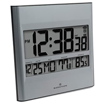 Marathon CL030027 - Reloj de pared con fecha y temperatura interior/exterior (8 zonas horarias, incluye pilas): Amazon.es: Hogar
