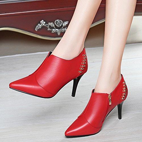 AJUNR-Zapatos De Mujer De Moda El Otoño Rojo De 8 Cm Con La Punta Fina De Cuero Cuero Profundo En La High-Heel Zapatos Zapatos De Mujer Profesional Elegante Rojo 37 38