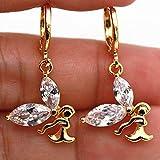 1set 18K Gold Filled - Clear Zircon Swirl Rivets Topaz Angel Wing Party Lady Earrings