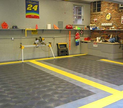 Diamond Pattern DeckPlate Modular Interlocking Garage, Patio Tiles - Grey Alloy Male Edge