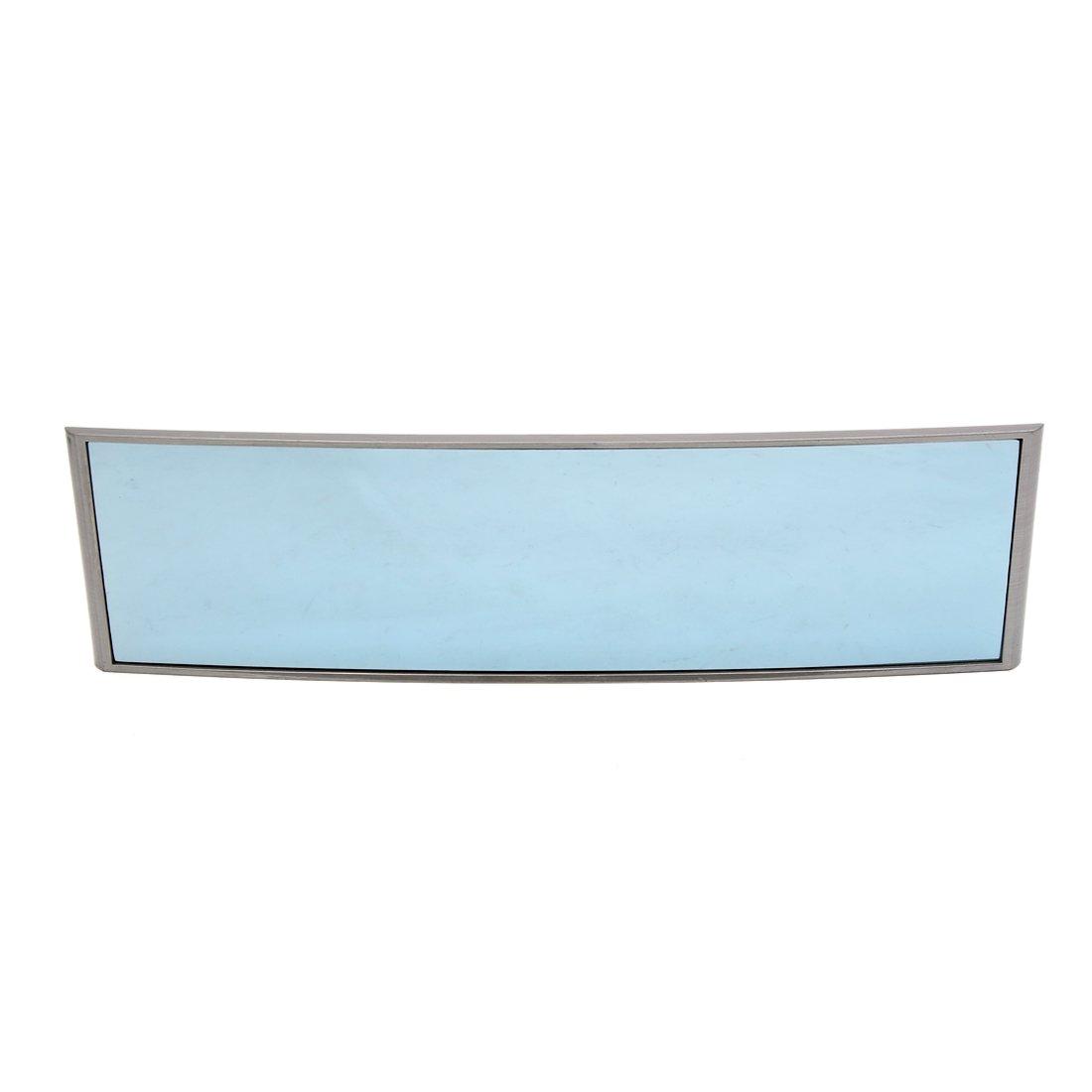 sourcing map 280mm Espejo Curvo Cristal Azul Antideslumbrante Retrovisor Interior de Coche Marco Gris