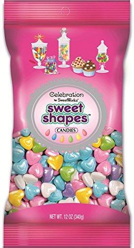 Sweetworks Celebrations Candy Sweet Shapes Bag, 12 oz, Shimmer Pastel Hearts
