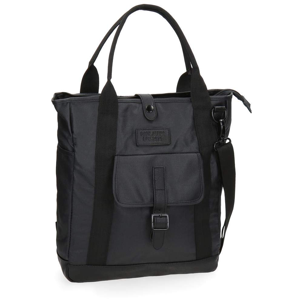 Pepe Jeans Black Label Borsa Messenger, 40 cm, Nero 7517651
