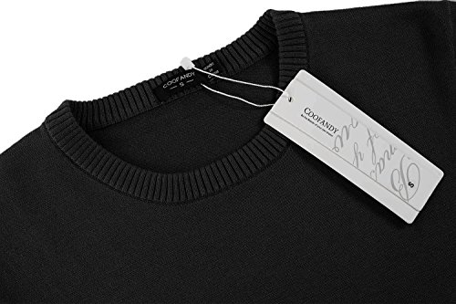 COOFANDY Men's Casual Slim Fit Crewneck Sweater Long Sleeve Basic Knitted Pullover Sweaters (L, Black) by COOFANDY (Image #3)