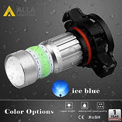 Alla Lighting 2800lm PSX24W 2504 LED Lights Bulbs 8000K Ice Blue Xtreme Super Bright COB-72 12V Car Fog Light Replacement 12276: Automotive