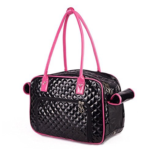 Black and Pink BETOP HOUSE Mirror Surface Faux Leather Tote Purse Dog and Pet Carrier Travel Bag, Black and Pink