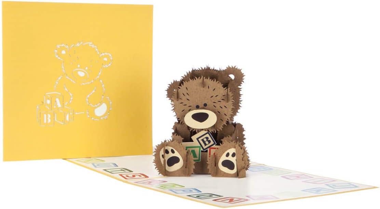 15 x 15 cm Cardology Carte 3D pour b/éb/é ours en forme dours pour filles ou gar/çons
