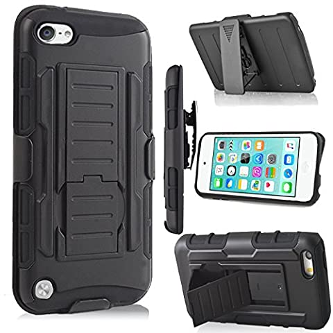 iPod Touch 6th Generation Case,Jwest Heavy Duty Dual Layer Hybrid Fullbody Case Dustproof and Shockproof Hybrid Hard Shell Cover with Belt Clip&Kickstand for Apple iTouch 5/6 Case - (Ipod 5th Generation With Holster)