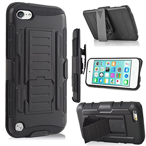 iPod Touch 6th Generation Case,Jwest Heavy Duty Dual Layer Hybrid Fullbody Case Dustproof and Shockproof Hybrid Hard Shell Cover with Belt Clip&Kickstand for Apple iTouch 5/6 Case - Black