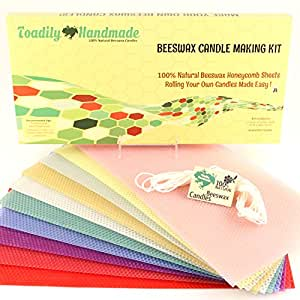"Make Your Own Beeswax Candle Kit - Includes 10 Assorted Colored 100% Beeswax Honeycomb Sheets and Approx. 6 Yards (18 Feet) of Cotton Wick - Each Sheet Measures Approx. 8"" x 16 1/4."