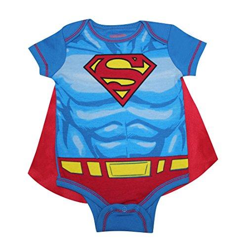 2 PCS SET Baby Boys SUPERMAN One-Piece Romper with Removable Cape 0/3M Multicolor