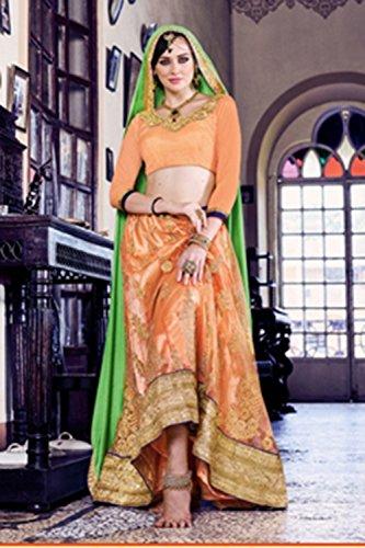 Da Facioun Womens Orange Color Striking Lehenga Choli With Embroidery Work 80369 80369