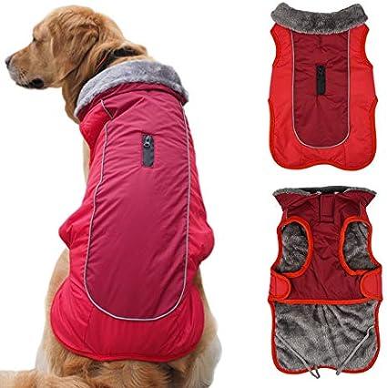Idepet Chaqueta abrigada para perros, traje para nieve resistente al agua para mascotas, ropa reflectante a prueba de viento para perros pequeños, medianos y grandes, forro de algodón suave