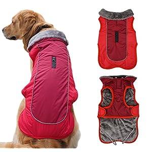 Idepet Chaqueta Abrigada para Perros, Traje para Nieve Resistente al Agua para Mascotas, Ropa Reflectante a Prueba de…