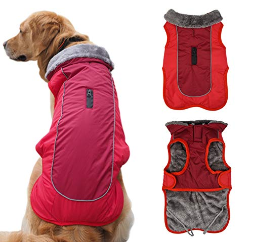 Idepet Dog Coat Warm Jacket,Water Resistant Pet Snowsuit,Reflective Windproof Dog Clothes for Small Medium Large Dogs-Soft Fleece Cotton Lined (2XL(Chest 29.53-33.46'', Neck 22.05''), Red) (Warm Dog Coats Medium)