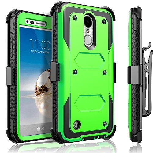 LG Aristo Case, LG Phoenix 3 Case, LG K8 2017 Case, LG Fortune Case, Circlemalls [SUPER GUARD]Dual Layer Protection With [Built-in Screen Protector] Holster Belt Clip + Touch Screen Pen[Green] by CircleMalls