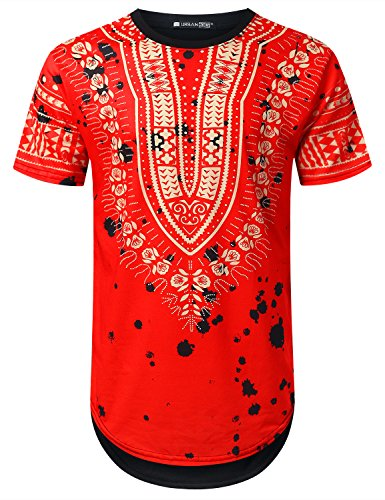 Red Dashiki - URBANTOPS Mens Hipster Hip Hop Splatter Dashiki Longline T-Shirt RED, L