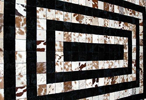 Tapis fait à la main cuir de vachette, patchwork tapis, cheveux sur moquette, Tapis en cuir 10,2x 10,2cm kpr-150020