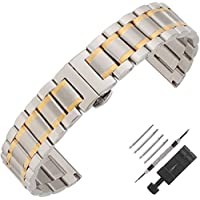 Weelovee Double Buckle Clasp Stainless Steel Bracelet Watch Band for Mens Women Strap Wristband Replacement 14mm to 24mm Straight End (20mm, Silver & Gold)