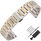 Weelovee Double Buckle Clasp Stainless Steel Bracelet Watch Band for Mens Women Strap Wristband Replacement 14mm to 24mm Straight End (14mm, Silver & Gold)
