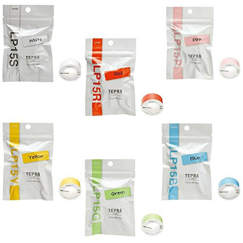 KING JIM White, Red, Pink, Yellow, Green, and Blue, set of six, TEPRA Lite tape; for label printer TEPRA Lite by KINGJIM
