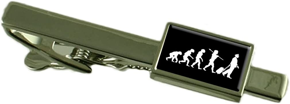 Select Gifts Evolution Ape to Man Pilot Crew Tie Clip Engraved Personalised Box