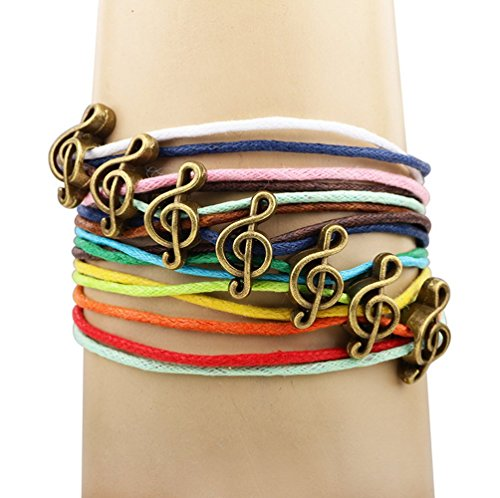 Winter's Secret Bronze Note Pattern Hand Braided Diy Color Wax Rope Ancient Wrap - Bracelet Dog Pattern