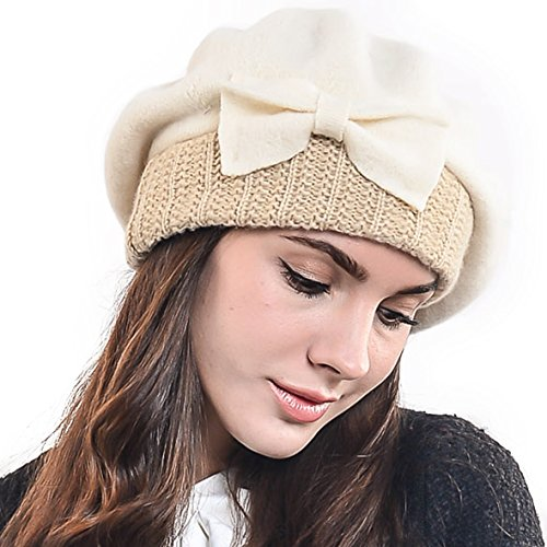 Lady French Beret Wool Beret Chic Beanie Winter Hat Jf-br034 - Purse Knitted Felt