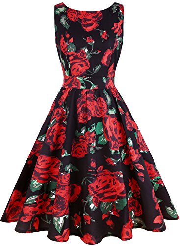 - OWIN Women's 1950s Vintage Floral Rockabilly Swing Prom Party Cocktail Dress Sleeveless