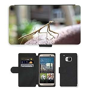 PU LEATHER case coque housse smartphone Flip bag Cover protection // M00133366 Insecto Mantis Bug de Vida Silvestre // HTC One M9