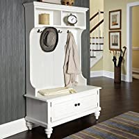 Storage Hall Tree Bench, Double Hook Shutter Doors, Storage Solution, Top Cubbies, Extra Space, Practical, Perfect For Entryway, Mudroom, Home Furniture, White Finish + Expert Guide