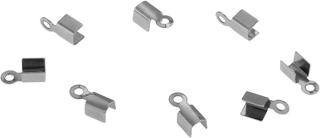 Stainless Steel Fold Over Cord Ends for Leather End Crimp Cap Findings Silver 100pcs 10x4.5mm