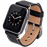 Apple-Watch-Band-42mm-Cowhide-Genuine-Leather-iwatch-Strap-Replacement-Band-with-Stainless-Metal-Clasp-for-Apple-Watch-Series-3-Series-2-Series-1-Sport-and-Edition-Black