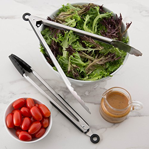 Spring Chef Kitchen Tongs with Stainless Steel and Silicone Heat Resistant non-stick Tips, 2 Piece Locking Mechanism Set Best for Serving, Cooking, Grilling, BBQ, Steak and Pasta, 12 Inch