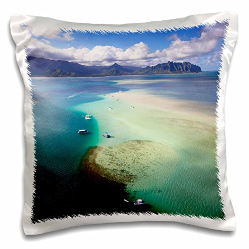 3dRose Danita Delimont - Bays - Sand Bar, Kaneohe Bay, Oahu, Hawaii, USA - US12 DPB2476 - Douglas Peebles - 16x16 inch Pillow Case (pc_144055_1)